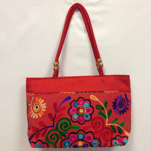 Handmade Traditional Kutchi Embroidery Work Handbag - Red, Pink, Yellow & Green - 3