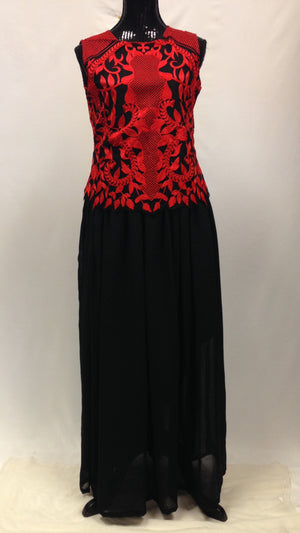 Thread Work Embroidery Maxi Dress - Black & Red - Sarang