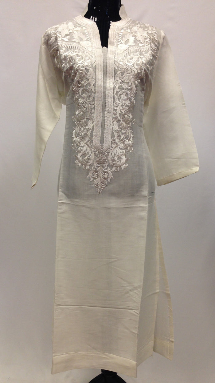 Thread Work Embroidery Kurta - Off White