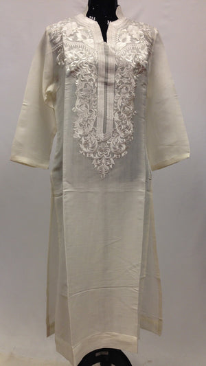 Thread Work Embroidery Kurta - Off White - Sarang