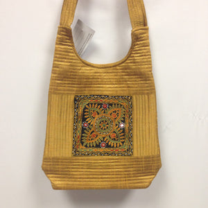 Handcrafted Embroidery Small Handbag - Golden, Blue, Maroon - 6
