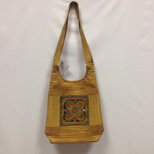 Handcrafted Embroidery Small Handbag - Golden, Blue, Maroon - 8