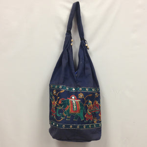 Gujarati Embroidery Handbag - Navy Blue - 1
