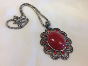 Silver Oxidized Pendant Necklace - Red - Sarang