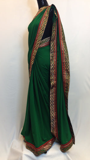 Pure Georgette Saree with Brocade Boarder - Green - 2