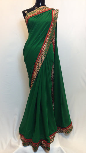 Pure Georgette Saree with Brocade Boarder - Green - 1