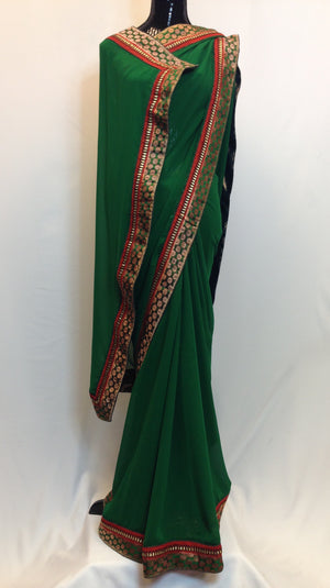 Pure Georgette Saree with Brocade Boarder - Green - 3