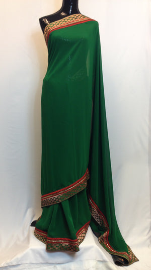 Pure Georgette Saree with Brocade Boarder - Green - 4