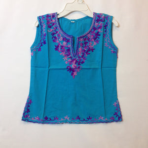 Kashmiri Embroidered Short Cotton Girls Top - 2
