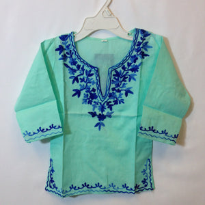 Kashmiri Embroidered Short Cotton Girls Top - - 2