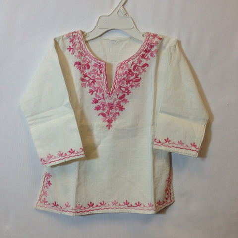 Girls Top - White & Pink