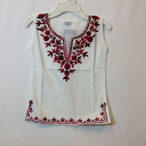 Kashmiri Embroidered Short Cotton Girls Top - White & Red - 2