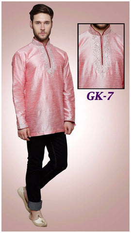 MEN'S SILK EMBROIDERED SHORT KURTA -PINK