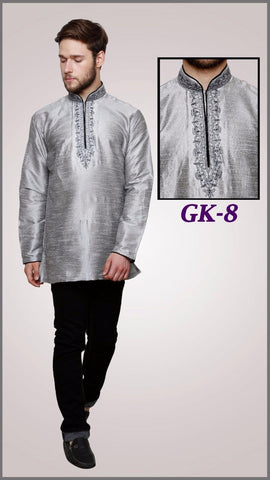 MEN'S SILK EMBROIDERED SHORT KURTA -GREY