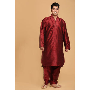 Silk Pathani Style Kurta with Salwar - Maroon