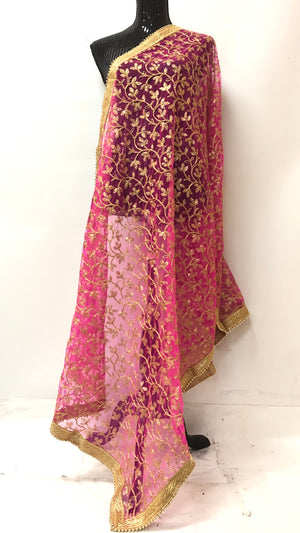 FULL ZARI WORK DUPATTA- HOT PINK