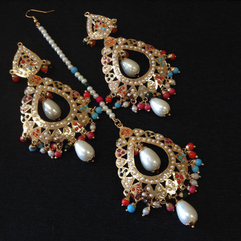 Gold Jadau Taditional Earrings Tika Set - Sarang