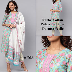 Three piece Kurta and Palazzo Set