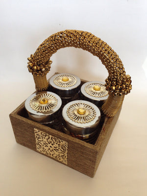 Decorative Tray With Four Jars - 1