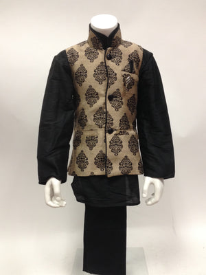 Traditional Kurta Pyjama with Goldenish Waist Coat - Sarang
