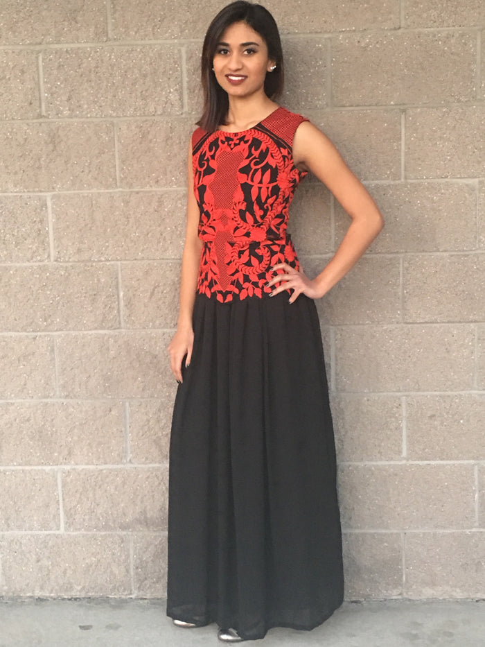 Thread Work Embroidery Maxi Dress - Black & Red