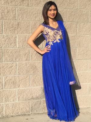 Designer Long Dress -Royal Blue - Sarang
