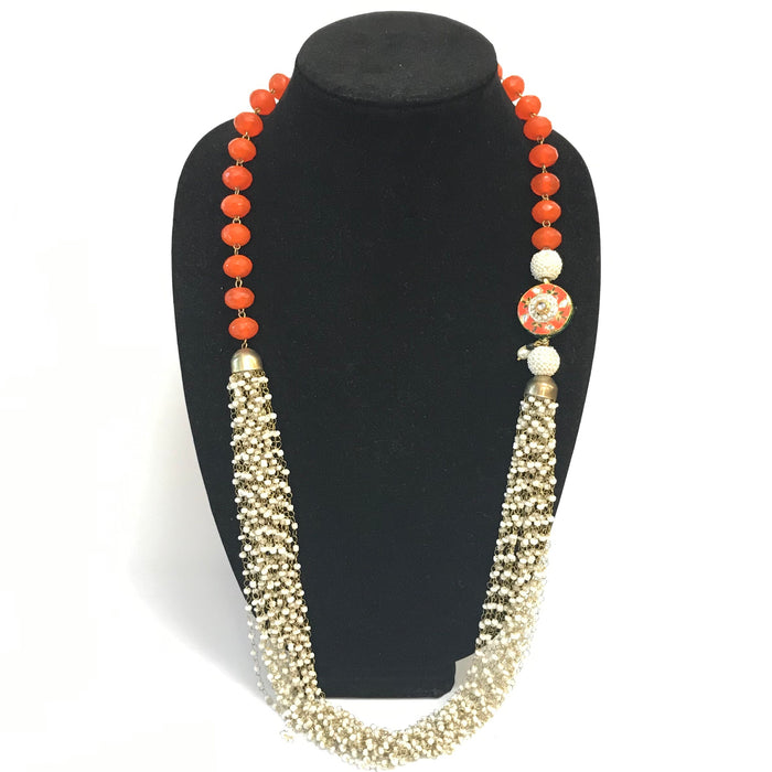 Rajasthani pedant and bead Necklace - Orange