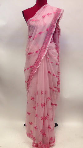 Georgette Lucknowi Saree - 1