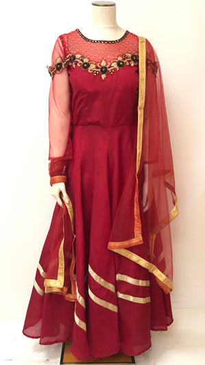 Long Silk Dress/Gown - Maroon