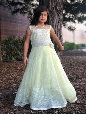 Long Lime Girls Dress