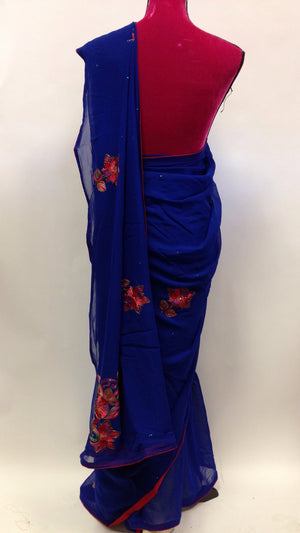 Hand Embroidered Georgette Saree - 2