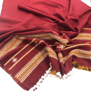 Gujarati Hand woven and Hand Embroidered Shawl