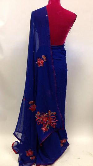 Hand Embroidered Georgette Saree - 3