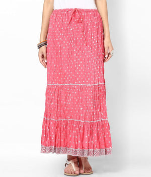 Rajasthani Print Girls Skirt-Peach - Sarang