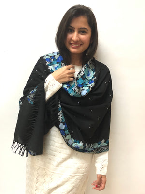 Kashmiri Shawl/Stole with Stones - Black