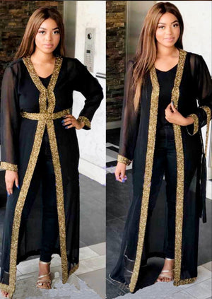 Beaded Long Drape/Jacket /Cape - Black