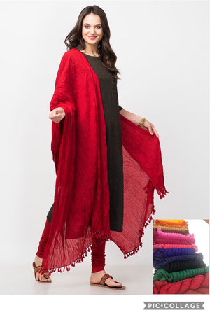 Crushed Cotton Dupatta - Red
