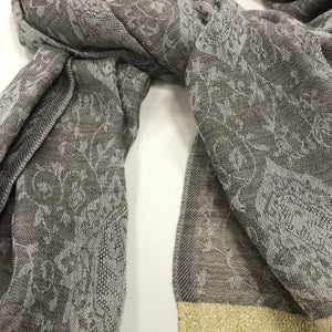 Pashmina wool Scarf/Stole with Dark Grey Border