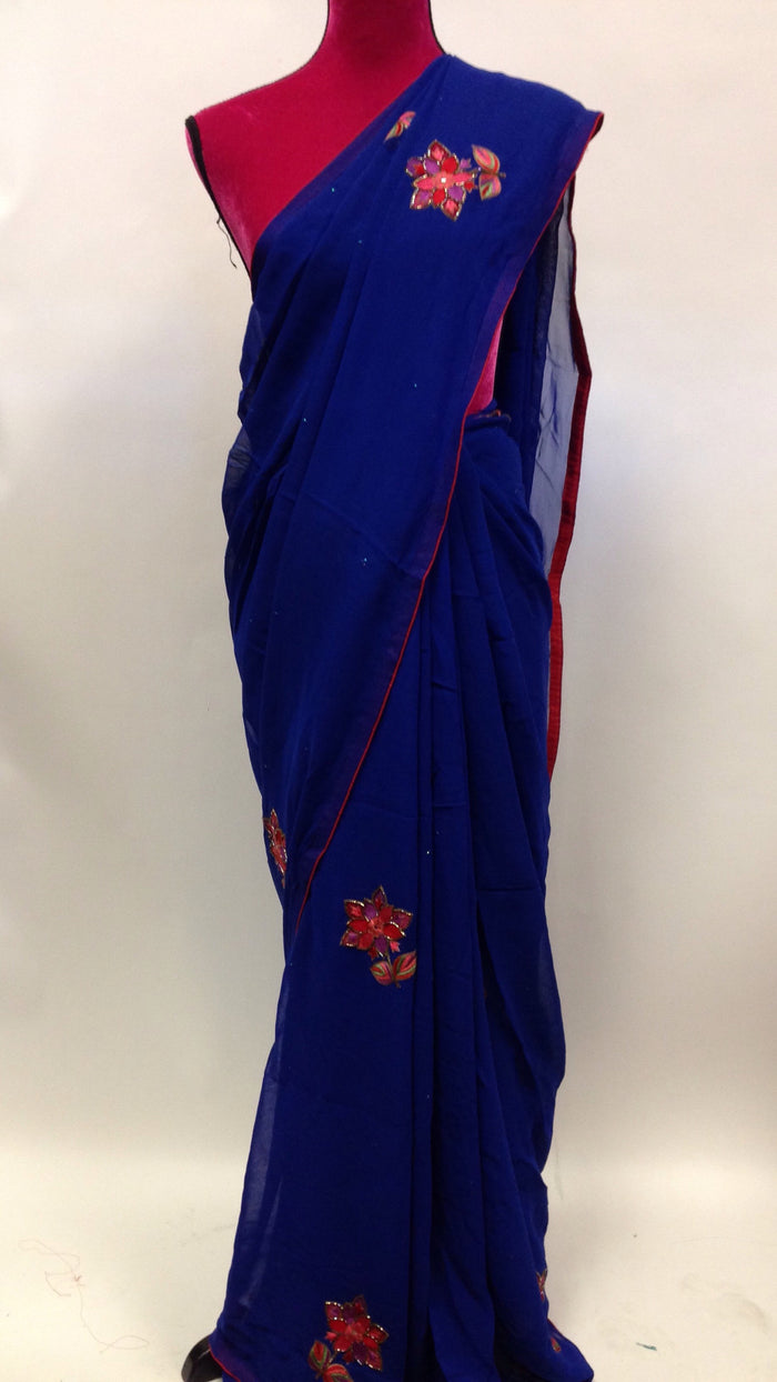 Hand Embroidered Georgette Saree