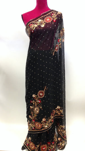 Hand Embroidered Chiffon Saree - 3