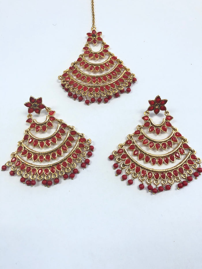 Red & Gold Earring & Tikka Set
