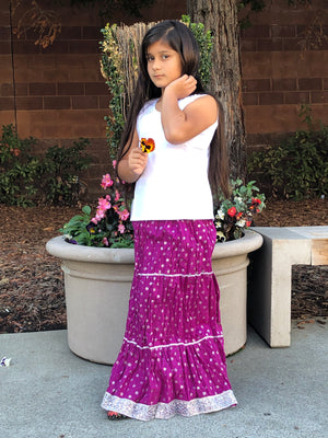 Rajasthani Print Girls Skirt-Purple