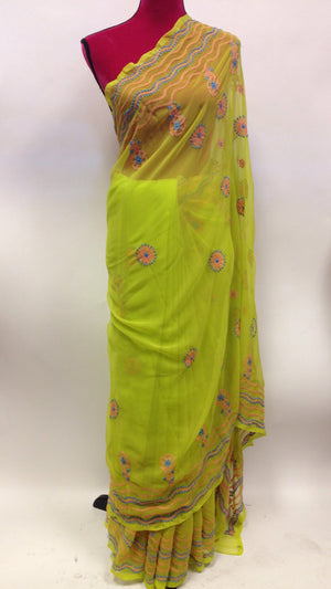 Georgette lucknowi Saree - 4
