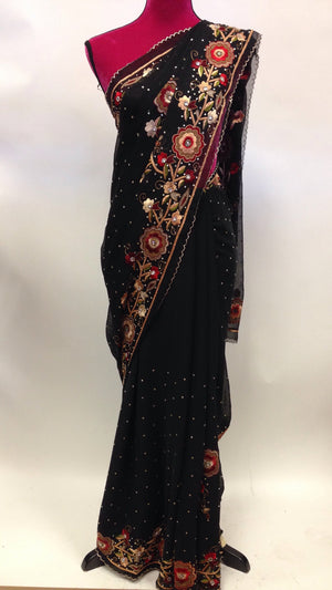 Hand Embroidered Chiffon Saree - 1