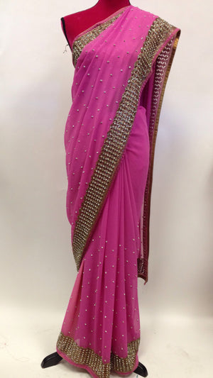 Embroidered Georgette Saree - 1