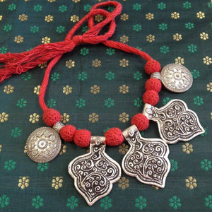 German Silver Oxidized Necklace - Sarang