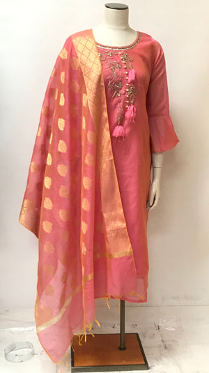 Banarasi Kurta and Dupatta Set -(Colors available)