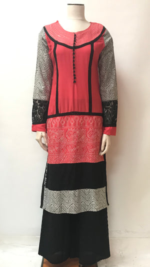 Rayon silk  Kurta-Dark Orange & Black
