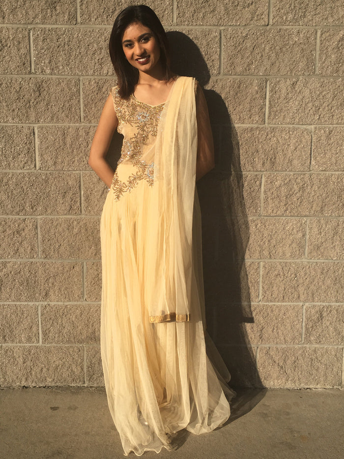 Cream & Golden Net Long Dress