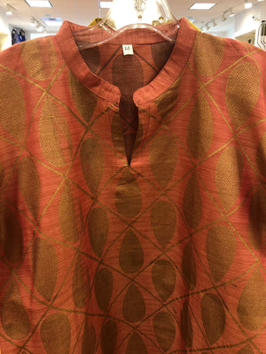 Silk Kurta with Gold Print